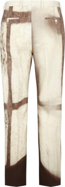 Fendi Ivory And Brown Shady Window Print Pants