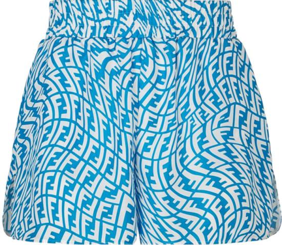 Fendi Light Blue And White Ff Vertigo Silk Shorts Fb0708ag9df1ep9