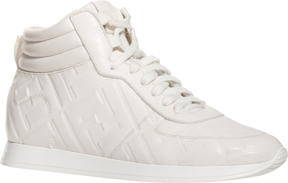 Fendi Logo Embossed White Leather High Top Sneakers