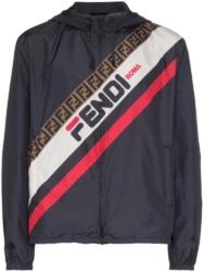 Fendi Logo Stripe Navy Mania Hooded Jacket