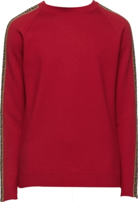 Fendi Logo Tape Red Sweater