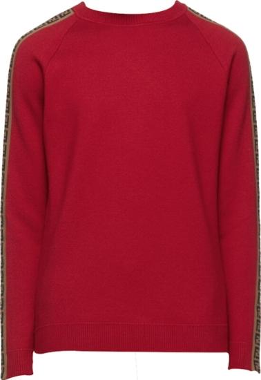 Fendi Logo Tape Red Sweater