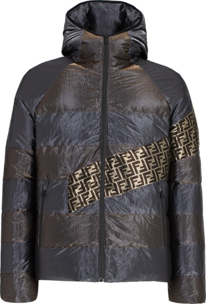 Fendi Metallic Stripe Puffer Jacket