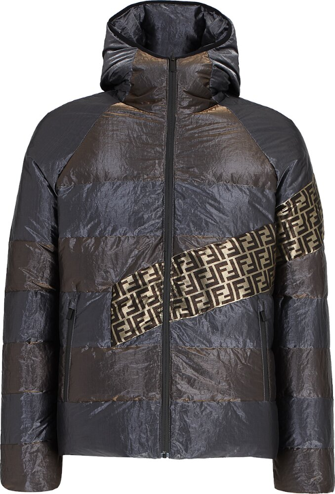 Fendi Metallic Stripe Puffer Jacket
