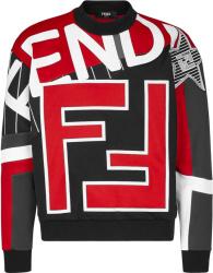 Fendi Red Black And Grey Allover Logo Sweatshirt