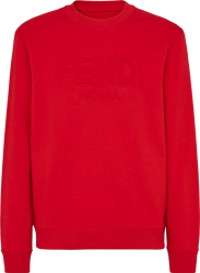 Fendi Red Fendi Roma Debossed Logo Sweatshirt Fy1079a6p3f1doo