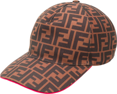 Fendi Red Trim Brown Ff Monogram Hat