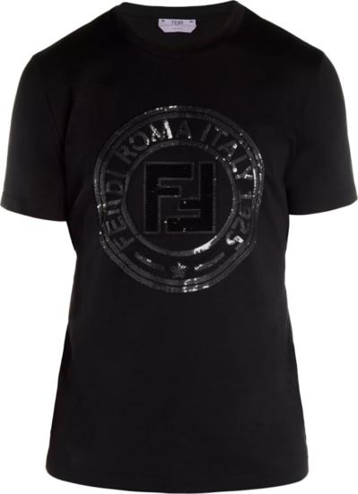 Fendi Sequin Logo Patch Black T Shirt