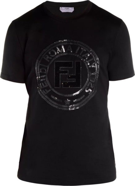 Fendi Sequin Logo Patch Black T Shirt