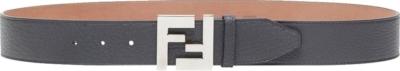 Fendi Silver Ff Buckle Black Leather Belt
