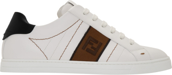 Fendi White Leather Low Top And Brown Ff Panel Sneakers