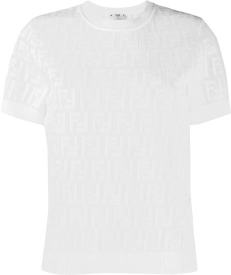 Fendi White Perforated Ff Monogram T Shirt