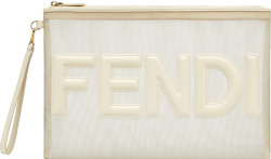 Fendi White Sheer Mesh And Leather Logo Zip Pouch