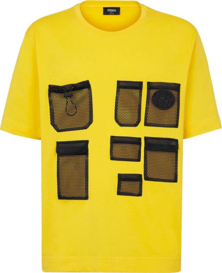 Fendi Yellow And Black Mesh Pocket T Shirt