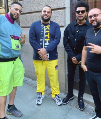 French Montana Wearing Fila And Yeezys With The Weeknd In Stockholm