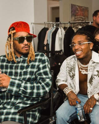 Future Wearing A Louis Vuitton Hat And Sunglasses With A Lanvin Shirt And Jacquees In A Givenchy Shirt