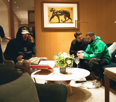 Future Wearing A Rhude Logo Hoodie With Drake In A Arcteryx Jacket And Jordan 3 Sneakers