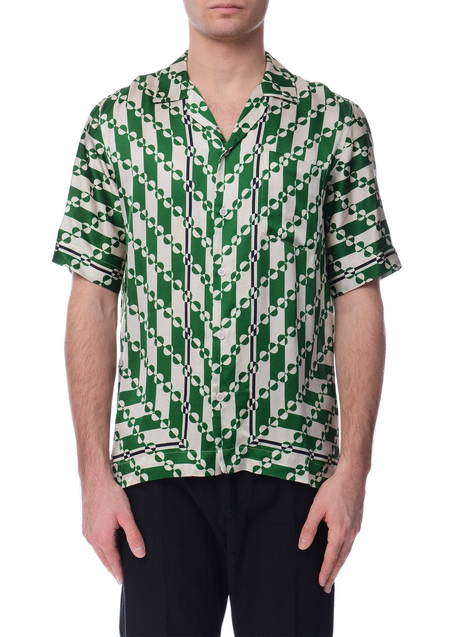 Green Abstract Pattern Shirt Incorporated Style
