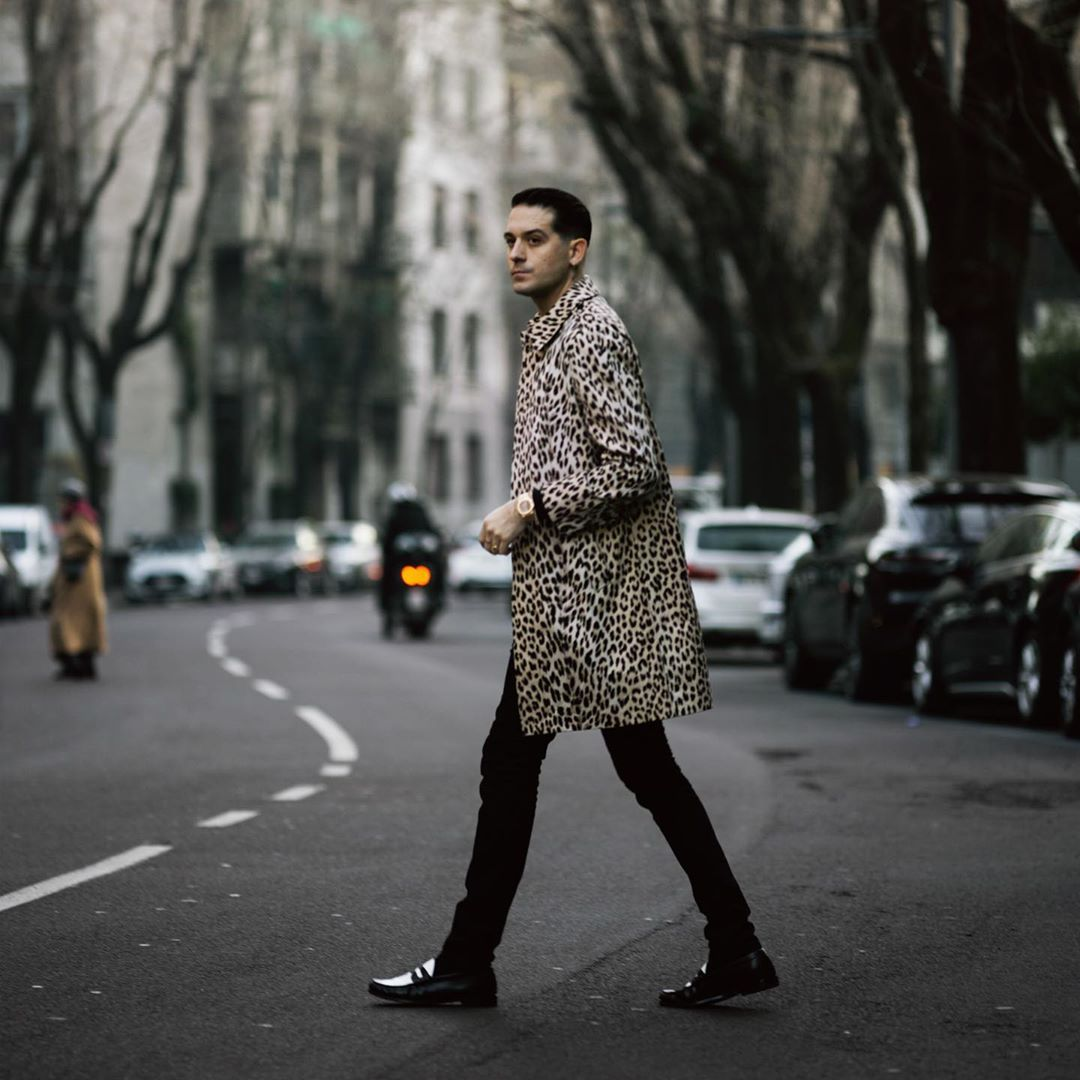 G Eazy In Milan Wearing A Celine Leopard Print Coat And Saint Laurent Penny Loafers