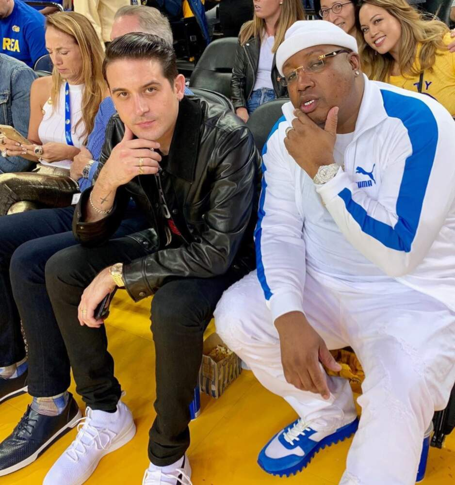 G Eazy With E 40 Courtside Wearing The Marathon Clothing Puma And Louis Vuitton