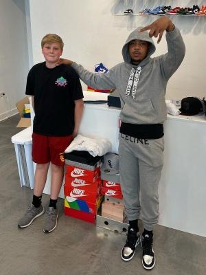 G Herbo Wearing A Celine Drawstring Logo Hoodie And Sweatpants With Jordan 1s