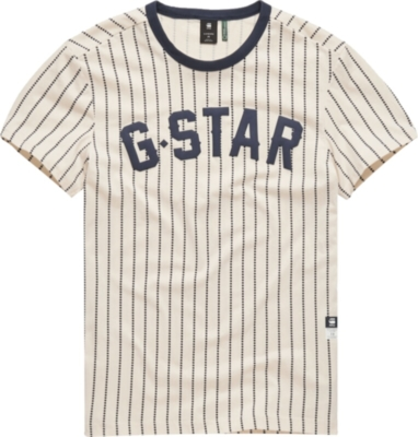 G Star Navy Pinstripe White T Shirt