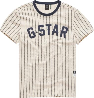 G Star Navy Pinstripe White T Shirt