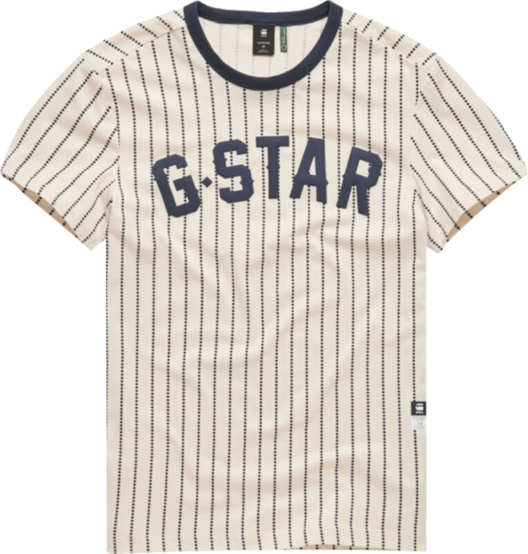 Navy Pinstripe White T-Shirt