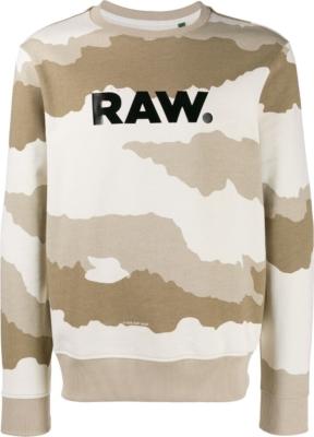 G Star Raw Black Logo Print Desert Camo Sweatshirt
