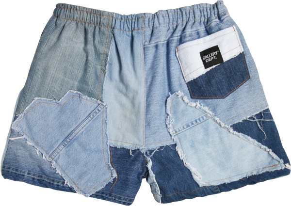 Gallery Dept Blue Denim Patchwork Shorts