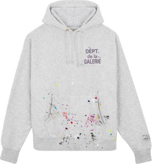 Gallery Dept Grey Paint Splatter Hoodie