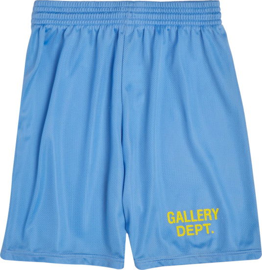 Gallery Dept Light Blue And Yellow Logo Gym Shorts