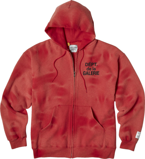 Gallery Dept Sunfaded Red French Logo Print Zip Hoodie