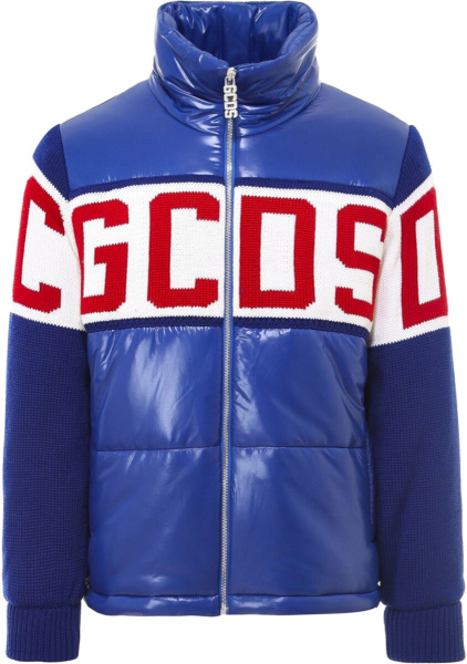 Gcds Blue White Red Puffer Knit Jacket
