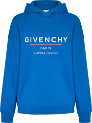 Blue Address Print Hoodie
