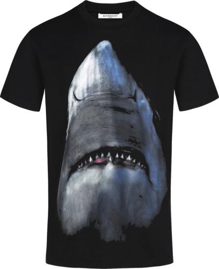 Givenchy Black Shark Print T Shirt