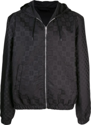 Givenchy Allover Logo Black Hooded Jacket