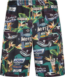 Givenchy Black Allover Motel Print Shorts