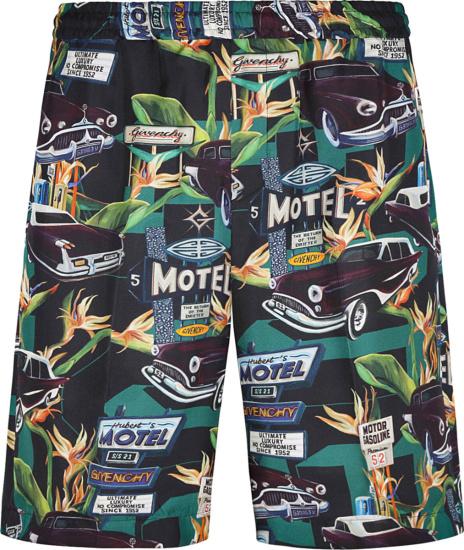 Givenchy Black Allover Motel Print Shorts