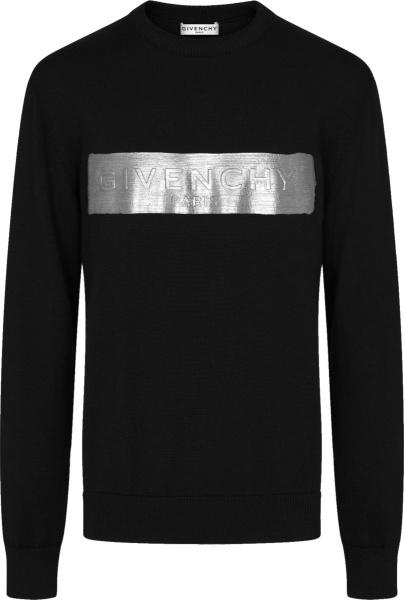 Givenchy Black And Silver Band Logo Print Crewneck Sweater