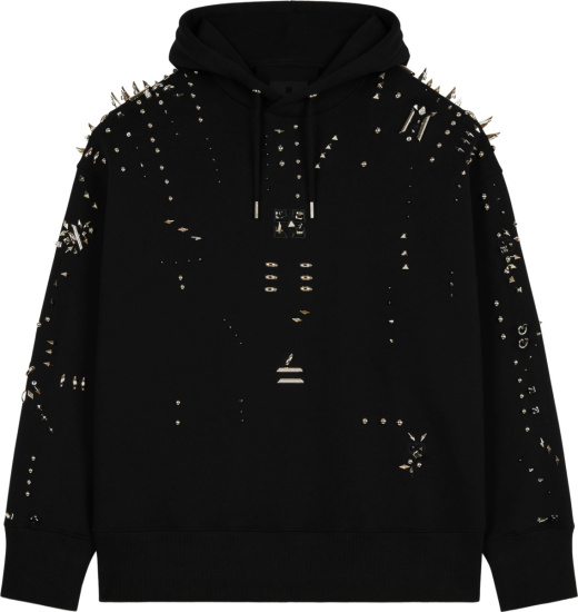 Givenchy Black And Silver Studded Spiked Hoodie