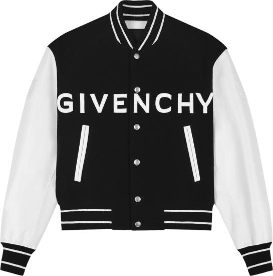 Givenchy Black And White Wide Logo Varsity Jacket Bm00qr611v 004