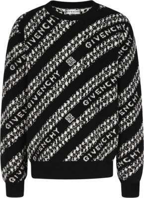 Givenchy Black Chain Logo Jacquard Sweater