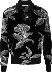 Givenchy Black Floral Schematics Velvet Track Jacket