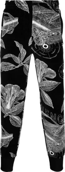 Givenchy Black Floral Schematics Velvet Track Pants