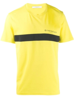 Givenchy Black Front Stripe And Logo Print Yellow Shirt