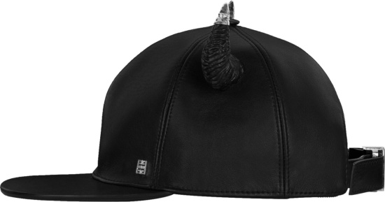 Givenchy Black Leather Hat With Woven Horns