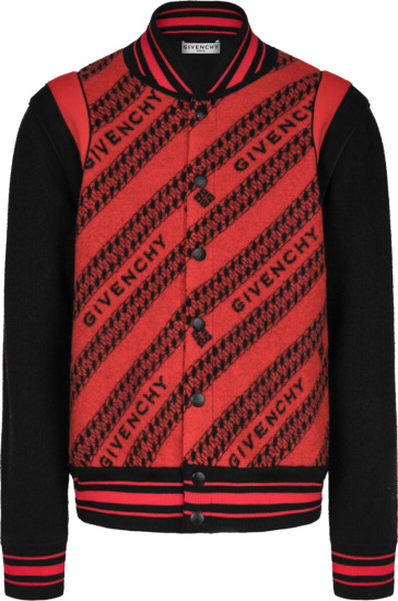 Givenchy Black Red Chain Jacquared Bomber Jacket