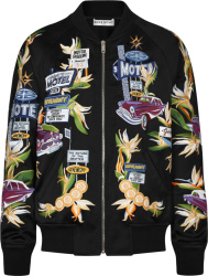 Givenchy Black Satin Motel Print Bomber Jacket Bm00p81y9h001