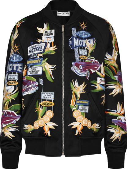 Givenchy Black Satin Motel Print Bomber Jacket Bm00p81y9h001